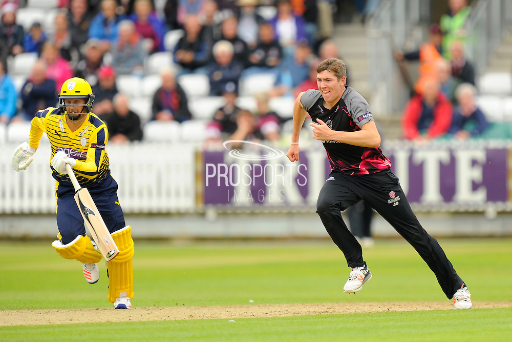 Somerset's Jamie Overton during the NatWest T20 Blast South Group match between Somerset County Cricket Club and Hampshire County Cricket Club at the Cooper Associates County Ground, Taunton, United Kingdom on 19 June 2016. Photo by Graham Hunt.