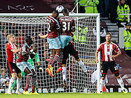 Ricardo Vaz Te of West Ham United (12) and Enner Valencia of West Ham United (31) both challenge for the same ball against Sheffield United during the Capital One Cup match at the Boleyn Ground, London<br /> Picture by David Horn/Focus Images Ltd +44 7545 970036<br /> 26/08/2014