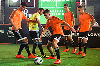 """Real Madrid players Alvaro Morata and Nacho Fernandez during the presentation of the new pack of Adidas football shoes """"Speed of Light"""" in Madrid. September 16, 2016. (ALTERPHOTOS/Borja B.Hojas)"""