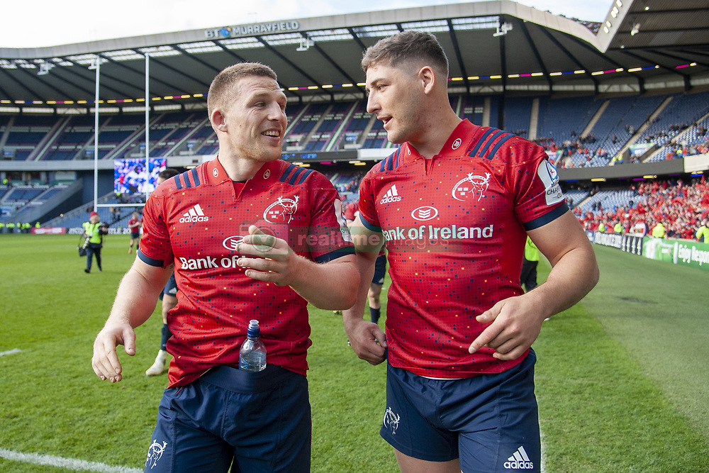 March 30, 2019 - Edinburgh, Scotland, United Kingdom - Andrew Conway and Dan Goggin og Munster celebrate during the Heineken Champions Cup Quarter Final match between Edinburgh Rugby and Munster Rugby at Murrayfield Stadium in Edinburgh, Scotland, United Kingdom on March 30, 2019  (Credit Image: © Andrew Surma/NurPhoto via ZUMA Press)