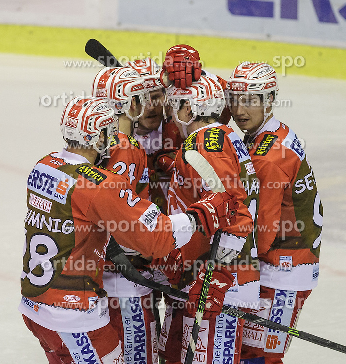 06.12.2015, Stadthalle, Klagenfurt, AUT, EBEL, EC KAC vs HDD TELEMACH Olimpija Ljubljana, 28. Runde, im Bild Manuel Geier (EC KAC, #21), Oliver Setzinger (EC KAC, #91), Martin Schumnig (EC KAC, #28), Steven Strong (EC KAC, #24), Patrick Harand (EC KAC, 16)// during the Erste Bank Eishockey League 28th round match match betweeen EC KAC and HDD TELEMACH Olimpija Ljubljana at the City Hall in Klagenfurt, Austria on 2015/12/06. EXPA Pictures © 2015, PhotoCredit: EXPA/ Gert Steinthaler