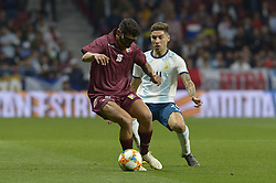 March 22, 2019 - Madrid, Madrid, Spain - Gonzalo Montiel of Argentina fight the ball with Rosales of Venezuela during the Friendly football match between Argentina and Venezuela at Wanda Metropolitano Stadium in 22 March 2019, Madrid, Spain, preparatory for the Copa América Brazil 2019 to be played from June 14 to July 7. (Credit Image: © Patricio Realpe/NurPhoto via ZUMA Press)