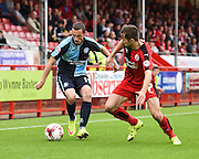 Wycombe's Michael Harriman attacking the wing during the Sky Bet League 2 match between Crawley Town and Wycombe Wanderers at the Checkatrade.com Stadium, Crawley, England on 29 August 2015. Photo by David Charbit.