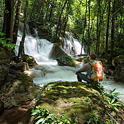 The Pha Sawan waterfall in the Khaoen Sri Nakarin National Park, Kanchanaburi, Thailand.