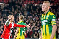 ROTTERDAM - Feyenoord - ADO Den Haag , Voetbal , KNVB Beker , Seizoen 2016/2017 , De Kuip , 14-12-2016 , Feyenoord speler Karim El Ahmadi (l) viert zijn goal voor de 4-0 terwijl ADO Den Haag speler Thomas Meissner (m) en ADO Den Haag speler Tom Beugelsdijk (r) balen
