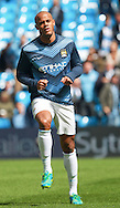 Vincent Kompany of Manchester City warms up before the Barclays Premier League match at the Etihad Stadium, Manchester<br /> Picture by John Rainford/Focus Images Ltd +44 7506 538356<br /> 11/05/2014