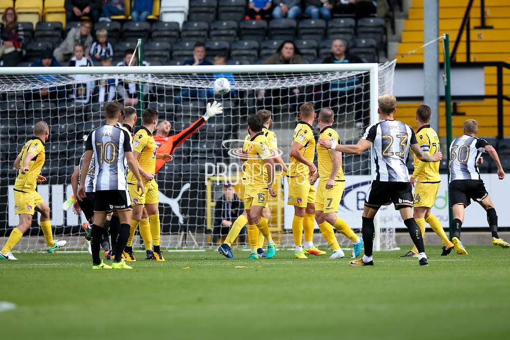Notts County defender Daniel Jones (23) scores a goal to make the score1-0 during the EFL Sky Bet League 2 match between Notts County and Morecambe at Meadow Lane, Nottingham, England on 9 September 2017. Photo by Simon Davies.
