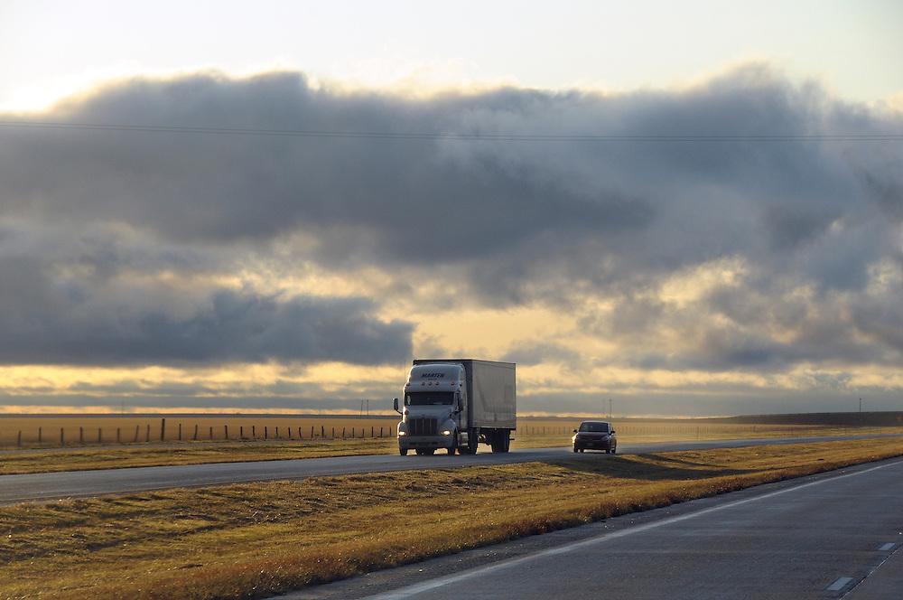 Storm, driving on Highway I-40 near Groom, Texas, USA