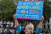 Anti-lockdown conspiracy theorists and Coronavirus deniers protest in Trafalgar Square for personal freedoms and against the government and mainstream media who, they say, are behind disinformation and  untruths about the covid pandemic, on 29th August 2020, in London, England.