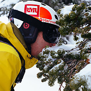 Tanner Flanagan eats the snow off of an unsuspecting tree in the backcountry of the Tetons.