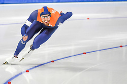 February 23, 2018 - Pyeongchang, Gangwon, South Korea - Kjeld Nuis of  Netherlands.winning the gold medal at 1000 meter speedskating at winter olympics, Gangneung South Korea on February 23, 2018. (Credit Image: © Ulrik Pedersen/NurPhoto via ZUMA Press)