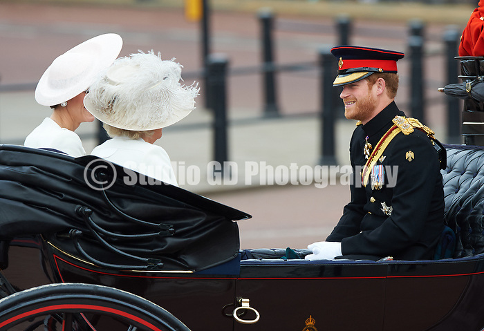 LONDON- UK - 11- JUNE -2016: The annual Trooping the Colour Ceremony for Queen Elizabeth's Birthday is held in London. Members of the royal family traveled by carriage from Buckingham Palace to Horseguards Parade for the Trooping Ceremony after which the Queen inspected the Guard of Honour and appeared with the family on the Palace balcony.<br /> Photograph by Gareth Davies