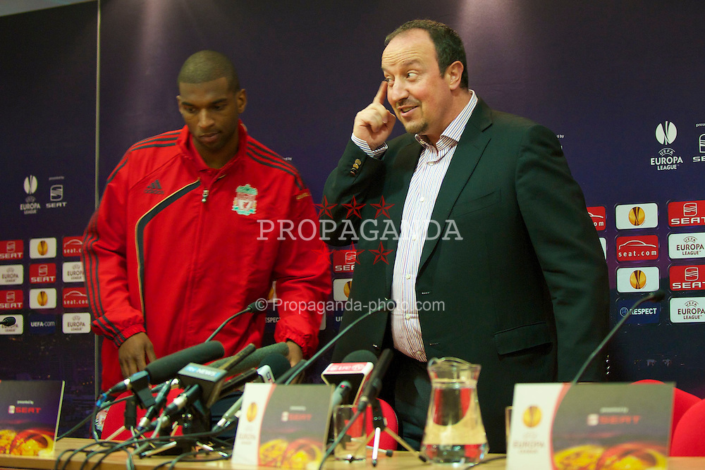 LIVERPOOL, ENGLAND - Wednesday, April 28, 2010: Liverpool's manager Rafael Benitez and Ryan Babel during a press conferece at Anfield ahead of the UEFA Europa League Semi-Final 2nd Leg match against Club Atletico de Madrid. (Pic by David Rawcliffe/Propaganda)