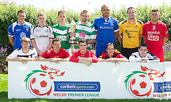 CARDIFF, WALES - Tuesday, August 14, 2012: Representatives of the twelves clubs at the launch of the 2012/2013 Welsh Premier League at the St. David's Hotel. Back row L-R: Lee Idzi (Bangor City), Tom Field (Airbus UK), Stuart Jones (Aberystwyth Town), Greg Draper (The New Saints), Cortez Belle (Port Talbot Town), Paul Fowler (Carmarthen Town), Shane Sutton (Newtown AFC). Front row L-R: Craig Jones (Gap Connah's Quay), Antonio Corbisiero (Llanelli AFC), Mark Jones (Afan Lido), Neil Gibson (Prestatyn Town), Ashley Morris (Bala Town). (Pic by David Rawcliffe/Propaganda)