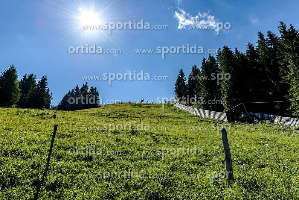 THEMENBILD - Der Blick den Steilhang hinauf, aufgenommen am 26. Juni 2017, Kitzbühel, Österreich // The view up the steep slope at the Streif, Kitzbühel, Austria on 2017/06/26. EXPA Pictures © 2017, PhotoCredit: EXPA/ Stefan Adelsberger