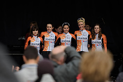 Lointek are presented to the crowds in Oudenaarde at the Women's Ronde van Vlaanderen 2017 Team Presentation.