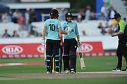 Natalie Sciver and Sarah Taylor of Surrey Stars build a partnership for the Stars during the Women's Cricket Super League match between Southern Vipers and Surrey Stars at the 1st Central County Ground, Hove, United Kingdom on 14 August 2018.