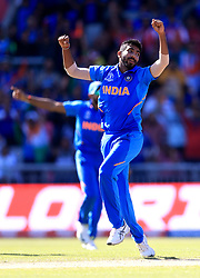 India's Jasprit Bumrah celebrates taking the wicket of West Indies' Fabian Allen LBW during the ICC Cricket World Cup group stage match at Emirates Old Trafford, Manchester.