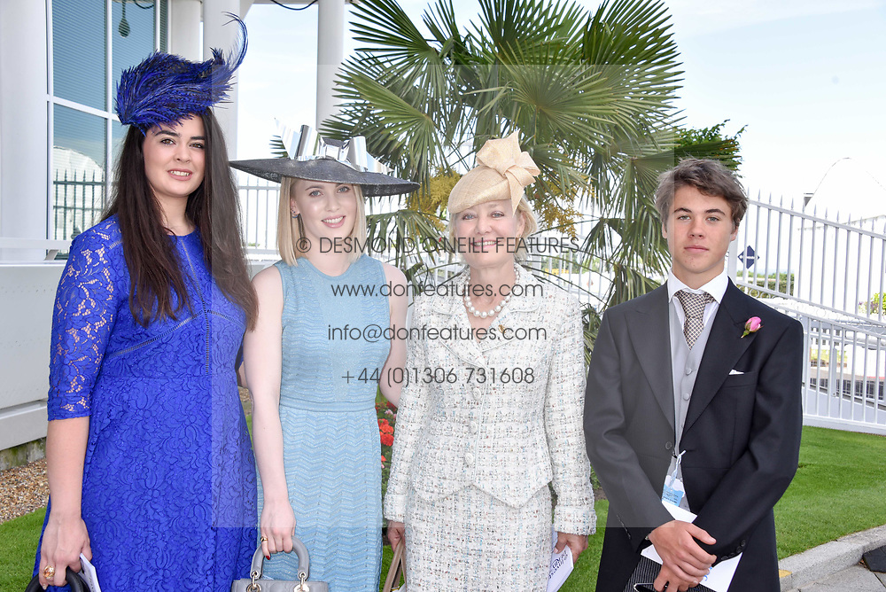 Left to right, Tryce Vane Percy, Theodora Gosden, Mrs John Gosden and Jasper d'Abo at The Investec Derby, Epsom, Surrey England. 3 June 2017.<br /> Photo by Dominic O'Neill/SilverHub 0203 174 1069 sales@silverhubmedia.com