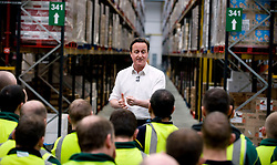 The Leader of Conservative Party David Cameron speaks to employees at Morrisons distribution centre in Sittingbourne, Kent, Monday March 29, 2010. Photo By Andrew Parsons / i-Images.
