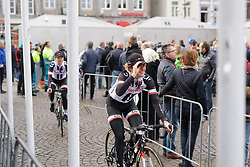 Floortje Mackaij doths her cap to fans at the Amstel Gold Race Ladies Edition - a 121.6 km road race between Maastricht and Valkenburg on April 16 2017 in Limburg, Netherlands.