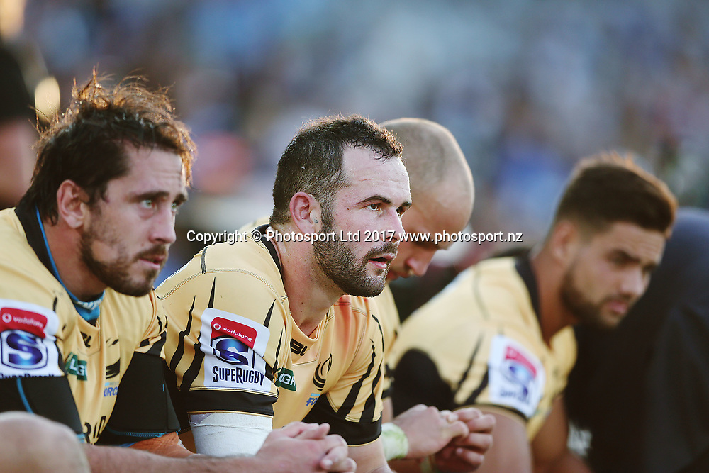 Jono Lance of the Force looks on from the bench. Super Rugby match, Blues v Force at Eden Park, Auckland, New Zealand. 1 April 2017 © Copyright Photo: Anthony Au-Yeung / www.photosport.nz