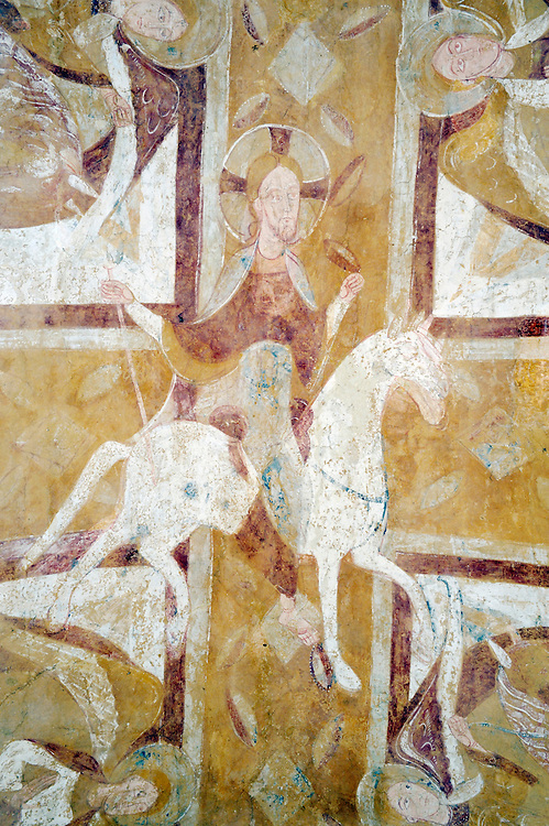 Christ on a White Horse. French Romanesque mural fresco painting on a vault of the crypt, Auxerre Cathedral, France. Circa 1150