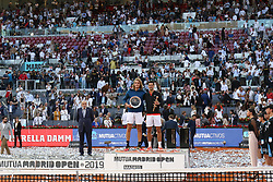 May 12, 2019 - Madrid, MADRID, SPAIN - Novak Djokovic (SRB) and Stefanos Tsitsipas (GRE) during the Mutua Madrid Open 2019, Final round, (ATP Masters 1000 and WTA Premier) tenis tournament at Caja Magica in Madrid, Spain, on May 12, 2019. (Credit Image: © AFP7 via ZUMA Wire)