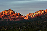 Sunset Panorama Sedona, Arizona. Image 4 of 11 images taken with a Nikon 1 V2 camera and 32 mm f/1.2 lens (ISO 200, 32 mm, f/5.6, 1/40 sec). Raw images processed with Capture One Pro. Panorama generated using AutoPano Giga Pro.