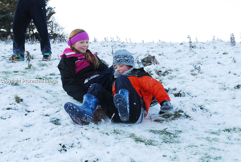 Winter Sports.......Ruth and Edward Gallagher pictured were enjoying their snow slides at the Quay Westport