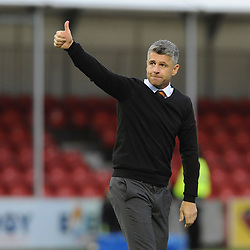 It's a thumbs up from Motherwell Manager Stephen Robinson at full time in the match between Hamilton Accies v Motherwell, Ladbrokes Premiership, The Super Seal Stadium, Saturday 14 October 2017  (c) Angie Isac | SportPix.org.uk