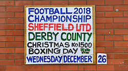 A general view of signage outside Bramhall Road, home of Sheffield United