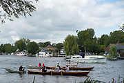 Walton, Great Britain,  Men's Double at the start, moving away from the Stake Boats, Walton Reach Regatta, Walton on Thames, Skiff and Punting Regatta  <br /> <br /> Saturday  19/08/2017<br /> <br /> [Mandatory Credit. Peter Spurrier/Intersport Images] River Thames .......... Summer, Sport, Sunny, Bright, Blue Skies, Skilful,