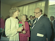 24/08/1984<br /> 08/24/1984<br /> 24 August 1984<br /> Opening of ROSC '84 at the Guinness Store House, Dublin. Lord Iveagh (right) chats with guests at the exhibition opening.