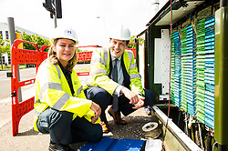 Pictured: Apprentice Laura O'Donnell shows Jamie Hepburn what goes on the the exchange boxes we all have seen at the side of the road.<br /> <br /> Minister for employability and training, Jamie Hepburn MSP visted BT's Alexander Graham Bell House today and met engineering apprentices. as he announced the latest figures on modern apprenticeships. <br /> Ger Harley | EEm 7 June 2016