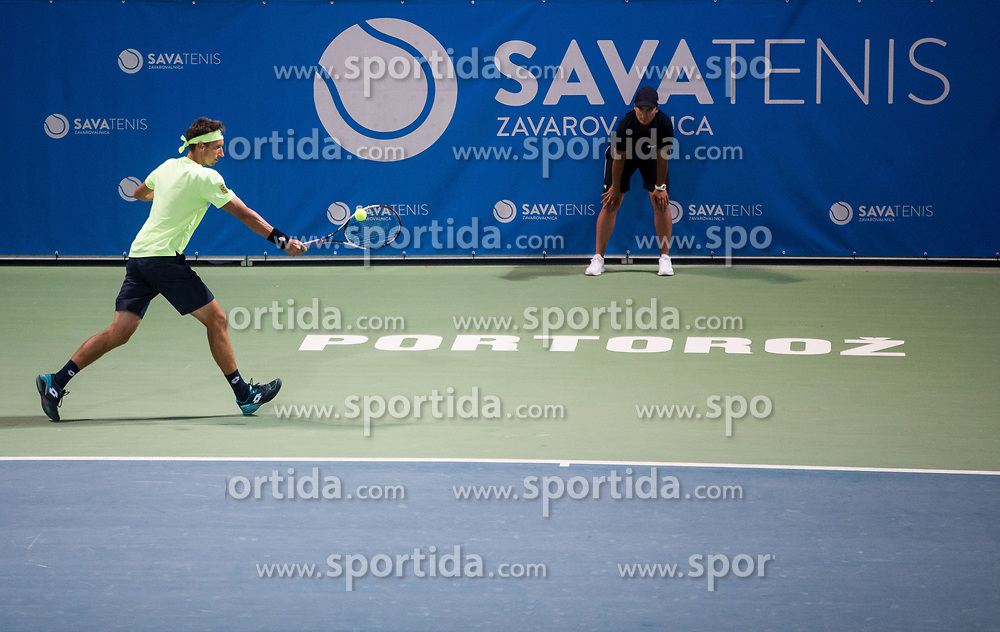 Sergiy Stakhovsky (UKR) in action during Final match of ATP Challenger Zavarovalnica Sava Slovenia Open 2017, on August 12, 2017 in Sports centre, Portoroz/Portorose, Slovenia. Photo by Vid Ponikvar / Sportida