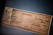 Los Angeles, April 7 2012 - In his house, Greg Schreiner's collection of items related to Marilyn Monroe. A check to Eunice Murray dated August 4 1962.