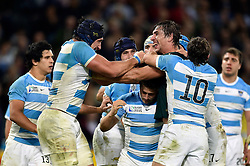 Tempers flare between Tomas Lavanini of Argentina and Eben Etzebeth of South Africa - Mandatory byline: Patrick Khachfe/JMP - 07966 386802 - 30/10/2015 - RUGBY UNION - The Stadium, Queen Elizabeth Olympic Park - London, England - South Africa v Argentina - Rugby World Cup 2015 Bronze Final.