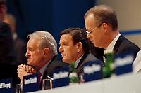 12.04.1999, Deutschland/Bonn:<br /> Johannes Rau, SPD, Stellv. Parteivorsitzender, Gerhard Schröder, SPD, Bundeskanzler, Rudolf Scharping, SPD, Bundesverteidigungsminister, auf dem Außerordentlichen Bundesparteitag, Hotel Maritim, Bonn<br /> IMAGE: 19990412-01/01-18<br /> KEYWORDS: Gerhard Schroeder, Parteitag, party congress