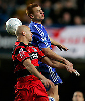 Photo: Tom Dulat.<br /> <br /> Chelsea v Queens Park Rangers. FA Cup Third Round. 05/01/2008. <br /> <br /> Gavin Mahon of Queens Park Rangers and Steve Sidwell of Chelsea head for the ball.