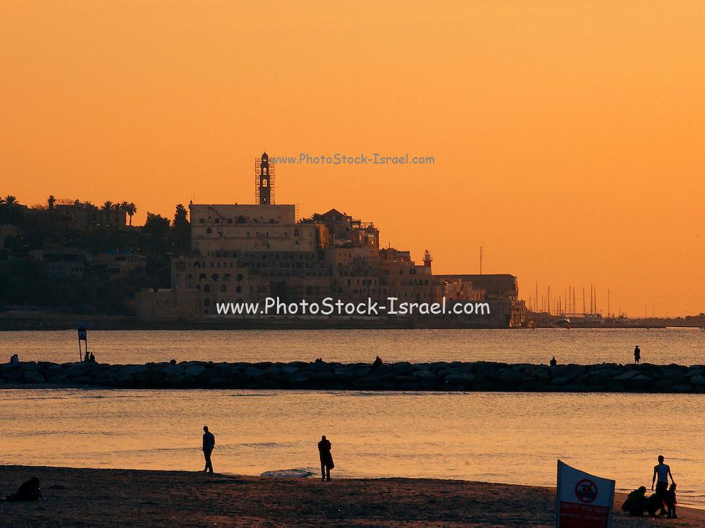 Jaffa as seen from Tel Aviv at sun set