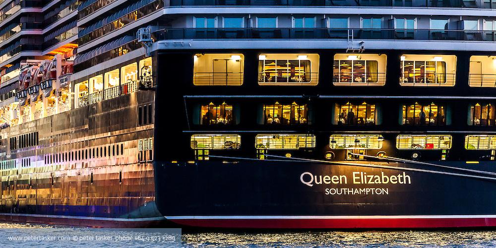 Cruise liner, Queen Elizabeth, Auckland, New Zealand.
