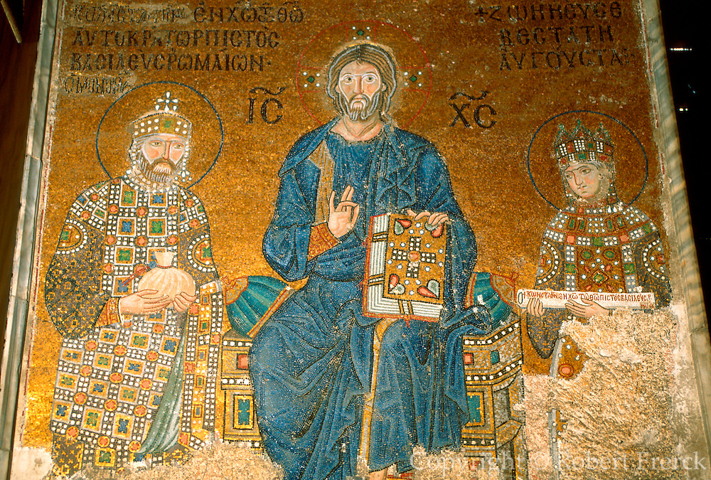 TURKEY, ISTANBUL, BYZANTINE Aya Sofya mosaic, Christ and emperors