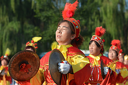 September 12, 2017 - Yunzhu, China - Demonstration of local dances from Jinzhong region ahead of the second stage Jinzhong A to B race of the 2017 Tour of China 1, the 197km from Dazhai to Yunzhu. .On Tuesday, 12 September 2017, in Dashai, Jinzhong, Shanxi Province, China. (Credit Image: © Artur Widak/NurPhoto via ZUMA Press)