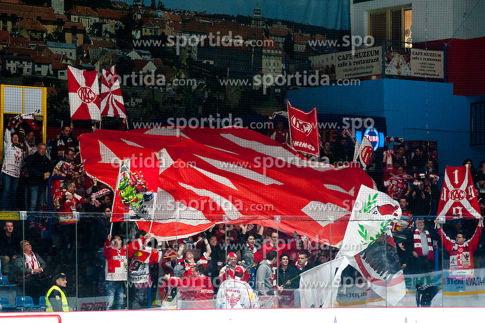 15.03.2015, Ice Rink, Znojmo, CZE, EBEL, HC Orli Znojmo vs EC KAC, 59. Runde, 5. Viertelfinale, im Bild Mitgereiste EC KAC Fans // during the Erste Bank Icehockey League 59th round match, 5th quarterfinal between HC Orli Znojmo and EC KAC at the Ice Rink in Znojmo, Czech Republic on 2015/03/15. EXPA Pictures © 2015, PhotoCredit: EXPA/ Rostislav Pfeffer