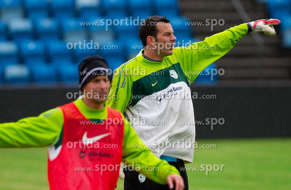 Miso Brecko and Samir Handanovic during practice session of Slovenian National football team 1 day before EURO 2012 Qualifications game against Faroe Islands, on June 2, 2011 in Stadium Svangaskard, Toftir, Faroe Islands. (Photo By Vid Ponikvar / Sportida.com)