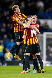 Bradford City players celebrate at the whistle after Bradford City pull of a remarkable comeback from 2-0 down to win the match 2-4 and progress to the fifth round of the FA Cup - Photo mandatory by-line: Rogan Thomson/JMP - 07966 386802 - 24/01/2015 - SPORT - FOOTBALL - London, England - Stamford Bridge - Chelsea v Bradford City - FA Cup Fourth Round Proper.