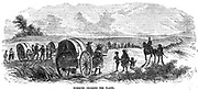 Mormons (Latter-Day-Saints). Mormon exodus from Illinois on the gruelling winter trek across the great plains between the Missouri and the Rockies to found Salt Lake City, Utah, USA, 1846.  Wood engraving.