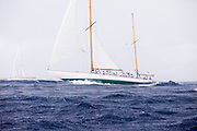 Galatea sailing in the 2010 Antigua Classic Yacht Regatta, Old Road Race, day 1.