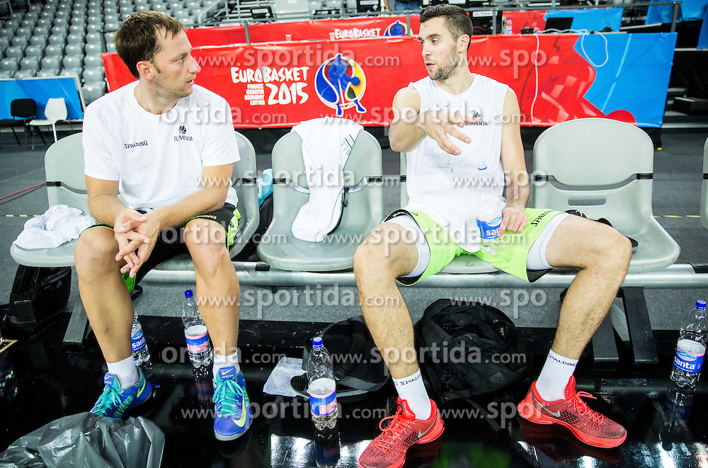 Sasa Zagorac and Mitja Nikolic during practice session of Slovenia National Basketball Team 1 day prior to the FIBA Europe Eurobasket 2015, on September 4, 2015, in Arena Zagreb, Croatia. Photo by Vid Ponikvar / Sportida